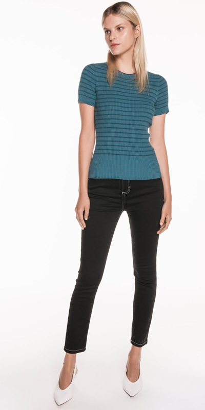 Tops | Ribbed Lurex Stripe Knit