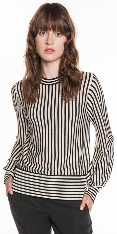 Tops  | Monochrome Sheer Stripe Knit