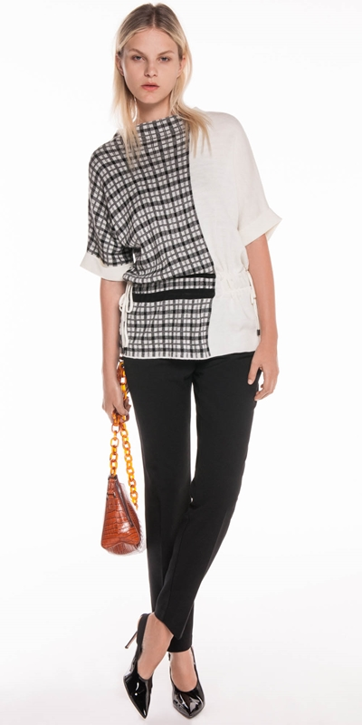 Tops | Spliced Check Jacquard Knit