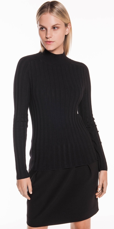 Tops  | Wide Rib Long Sleeve Knit