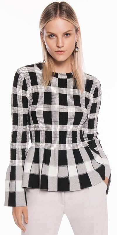 Knitwear  | Shirred Check Knit