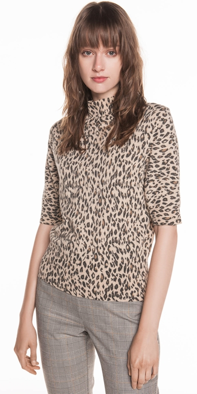 Tops | Animal Print Knit