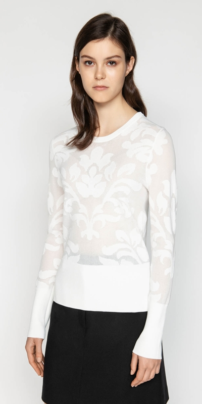 Tops  | Floral Jacquard Knit