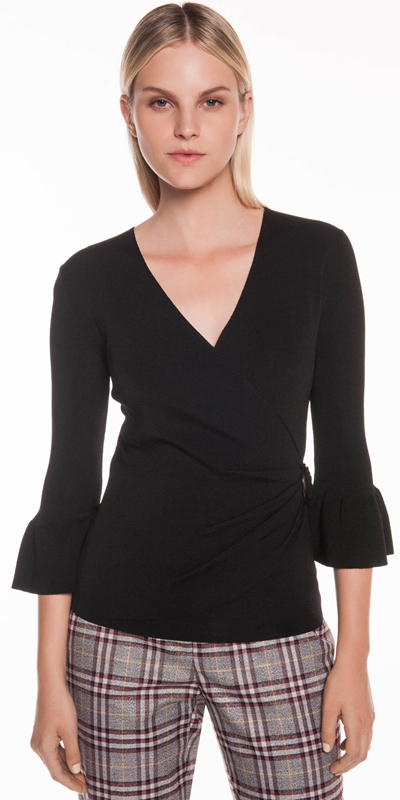 Tops | Fluted Sleeve Wrap Knit