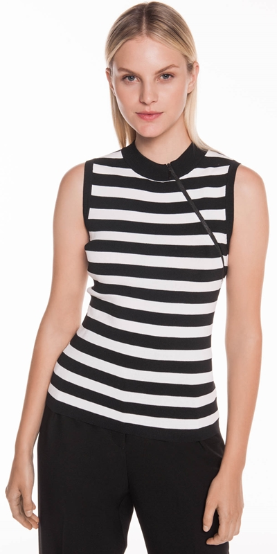 Knitwear  | Zip Front Striped Tank