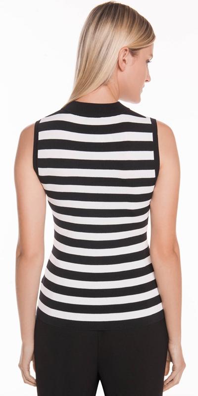 Knitwear | Zip Front Striped Tank