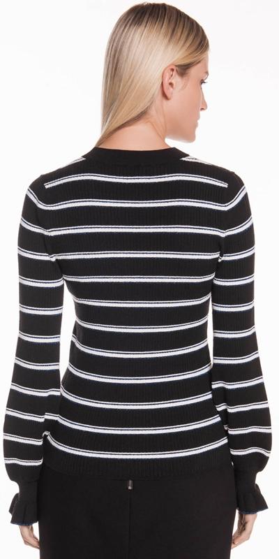 Knitwear | Frilled Cuff Stripe Knit