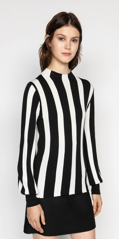 Knitwear  | Wide Stripe Blouson Sleeve Knit