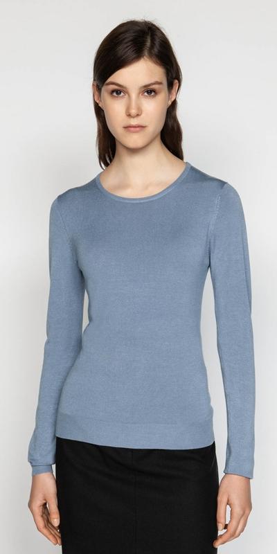 7e4c018278b8dc ... Knitwear | Round Neck Long Sleeve Knit