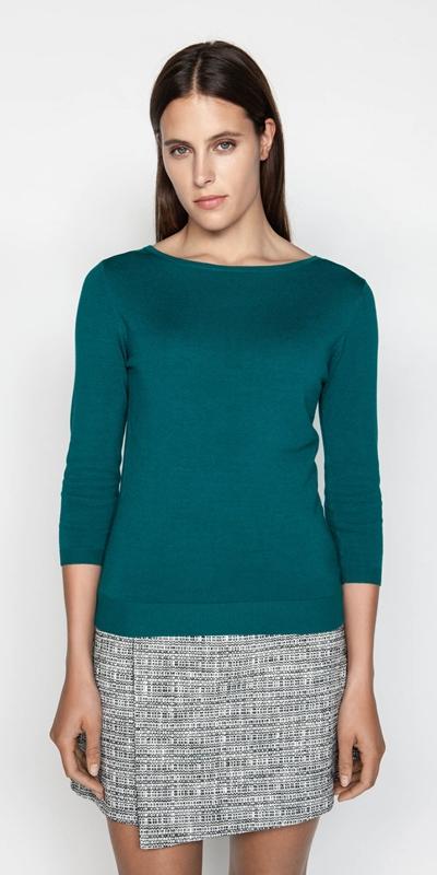 Sale  | Boat Neck 3/4 Sleeve Knit