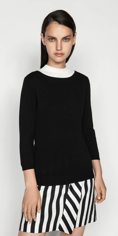 Tops  | Boat Neck Cropped Sleeve Knit