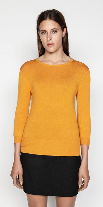 Tops  | Round Neck 3/4 Sleeve Knit