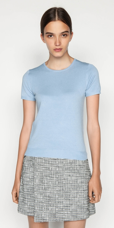 Tops  | Round Neck Short Sleeve Knit