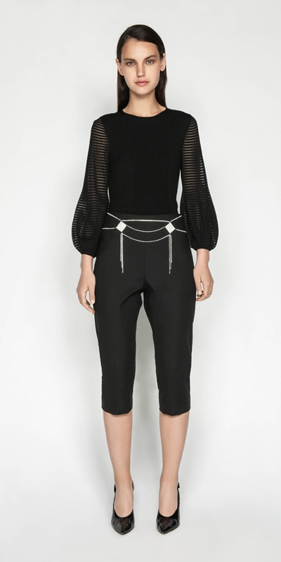 Knitwear | Sheer Stripe Blouson Knit