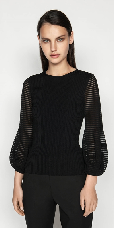 Tops  | Sheer Stripe Blouson Knit