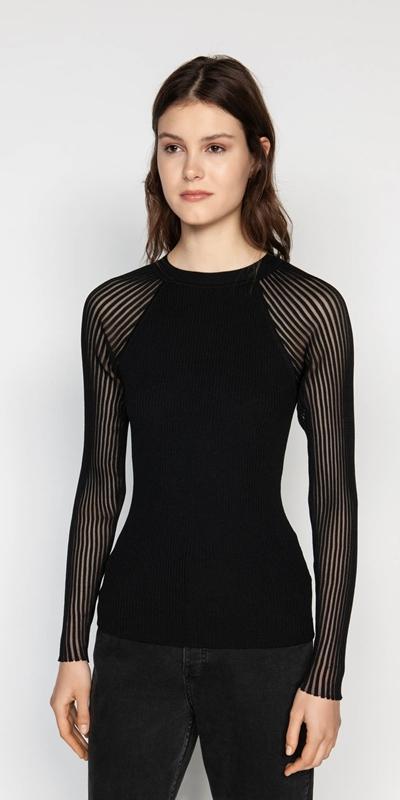 Tops  | Sheer Sleeve Rib Knit