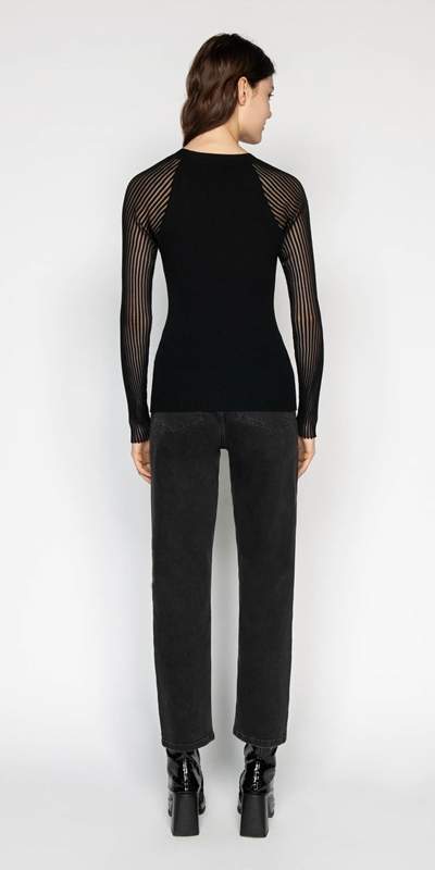Knitwear | Sheer Sleeve Rib Knit