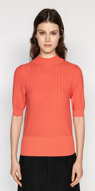 Knitwear  | Funnel Neck Ladder Rib Knit