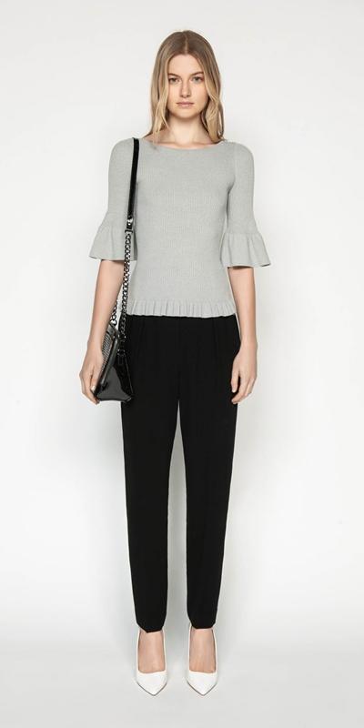 Sale | Ruffle Peplum Rib Knit