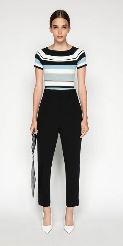Knitwear | Boat Neck Stripe Rib Knit