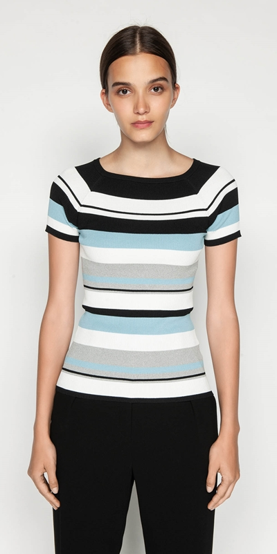 Tops  | Boat Neck Stripe Rib Knit