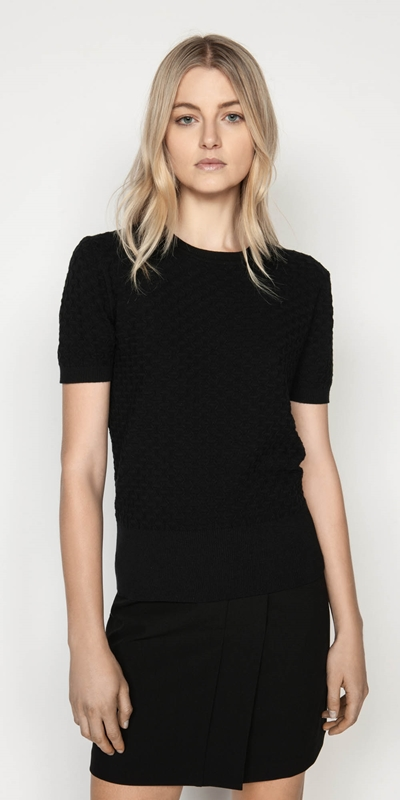 Tops  | Textured Short Sleeve Knit