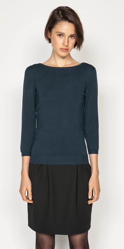 Wear to Work  | Boat Neck 3/4 Sleeve Knit