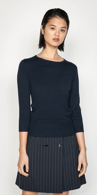 Knitwear  | Round Neck 3/4 Sleeve Knit
