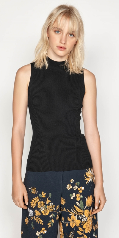 Tops  | Ribbed Funnel Neck Knit
