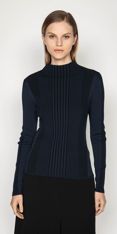 Wear to Work  | Long Sleeve Two Tone Rib Knit
