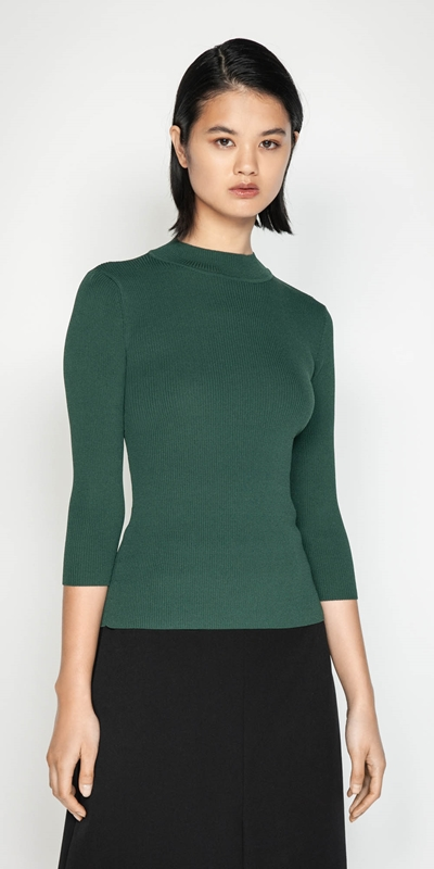 Wear to Work  | 3/4 Sleeve Rib Knit