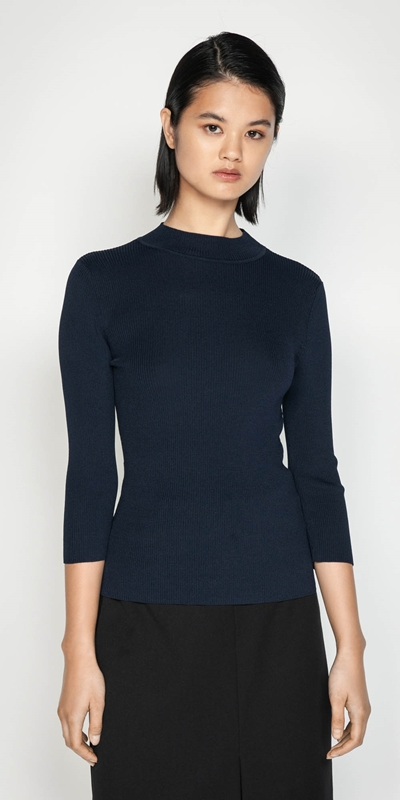 Work From Home  | 3/4 Sleeve Rib Knit