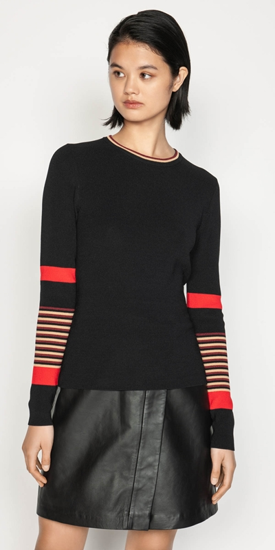 Work From Home  | Multi Stripe Long Sleeve Knit