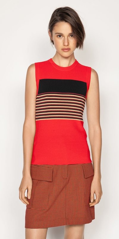 Knitwear | Multi Stripe Sleeveless Knit