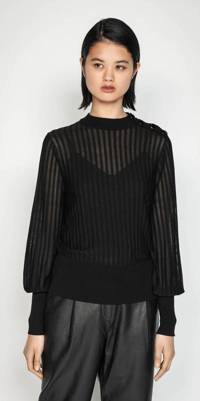 Knitwear  | Solid and Sheer Stripe Knit