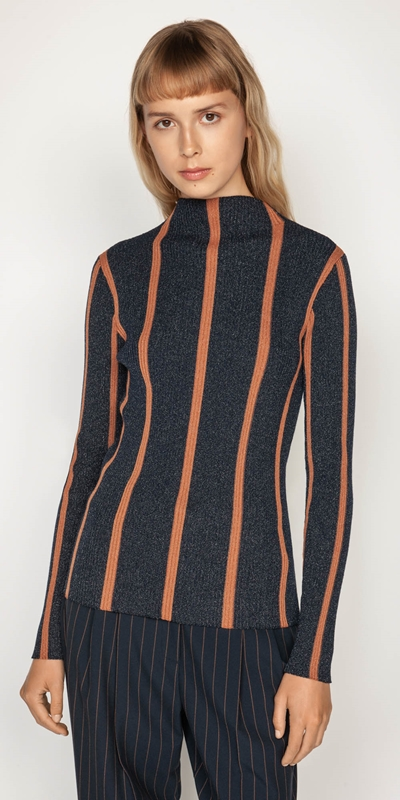 Work From Home  | Metallic Stripe Funnel Neck Knit