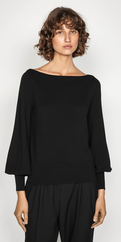 Work From Home  | Slash Neck Blouson Sleeve Knit