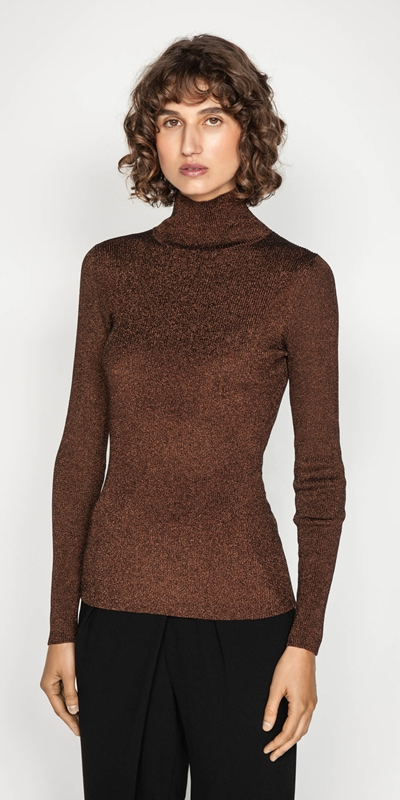 Tops  | Ribbed Metallic Funnel Neck Knit