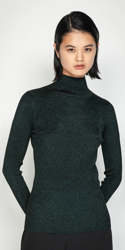 Knitwear  | Ribbed Metallic Funnel Neck Knit