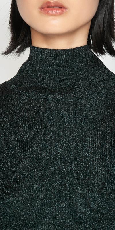Knitwear | Ribbed Metallic Funnel Neck Knit
