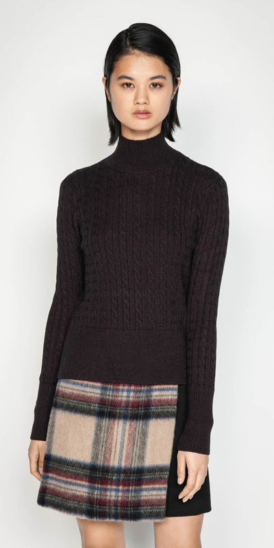 Wear to Work  | Funnel Neck Cable Sweater