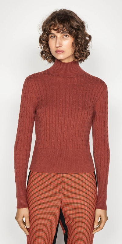 Work From Home  | Funnel Neck Cable Sweater