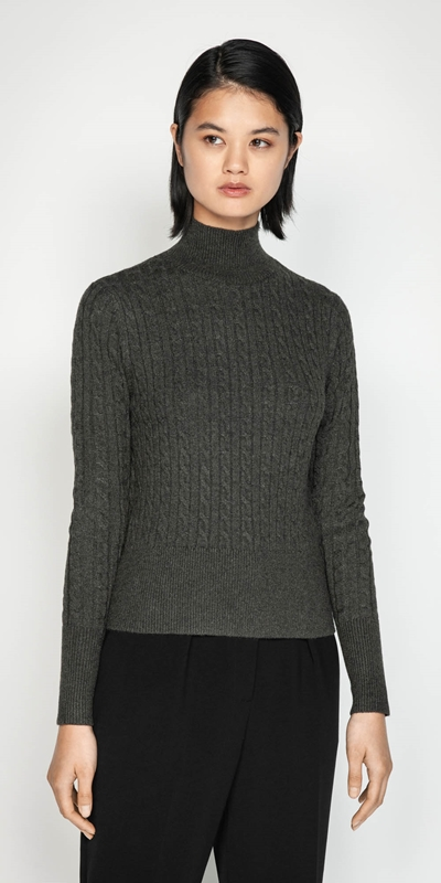 Tops  | Funnel Neck Cable Sweater