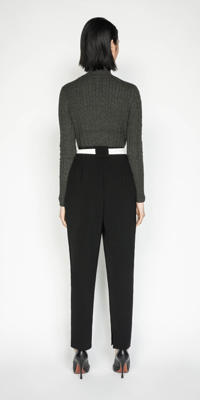 Knitwear   Funnel Neck Cable Sweater