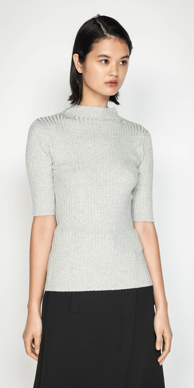 Sale  | Funnel Neck Rib Knit