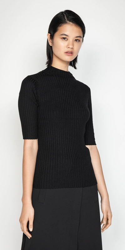 Wear to Work  | Funnel Neck Rib Knit