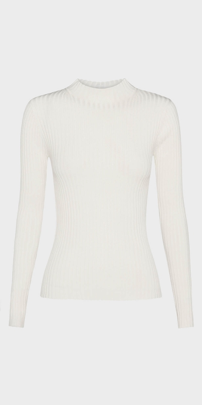 Work From Home | Funnel Neck Rib Knit