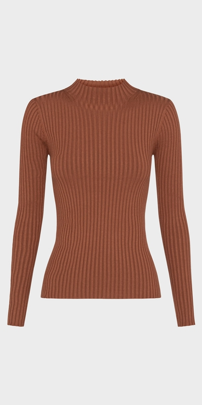 Tops | Funnel Neck Rib Knit