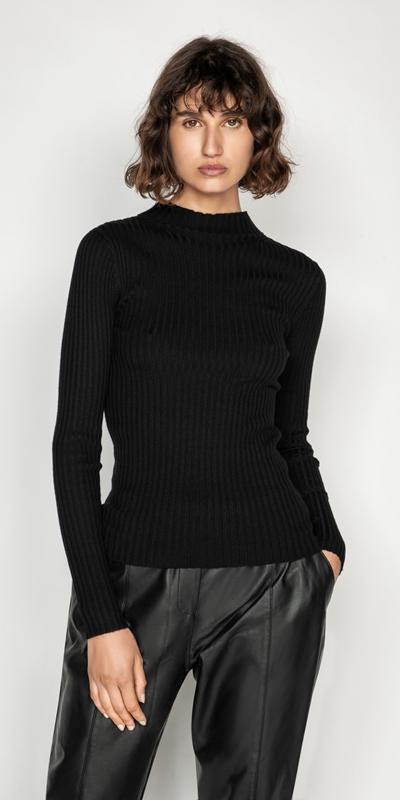Knitwear  | Funnel Neck Rib Knit