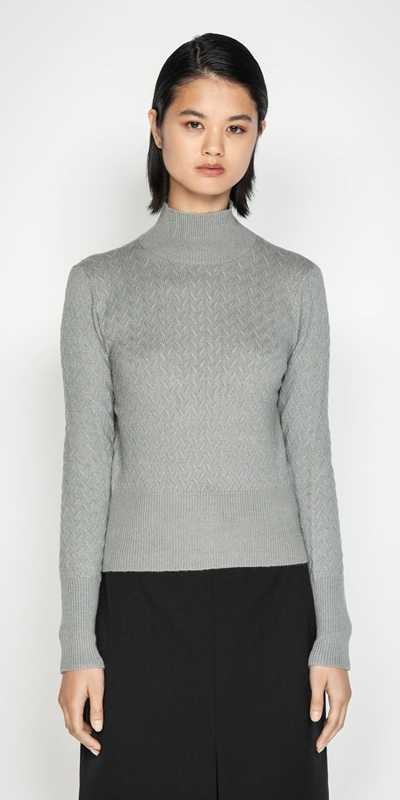 Knitwear | Textured Funnel Neck Sweater